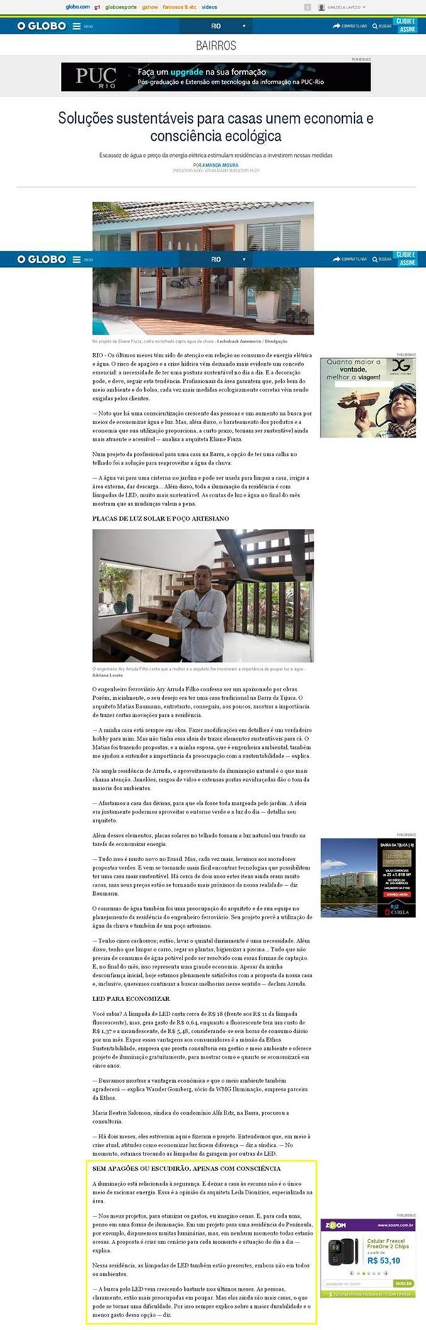 Jornal O Globo | Leila Dionizios Arquitetura e Luminotécnica