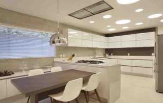 Cozinha com lâmpada led