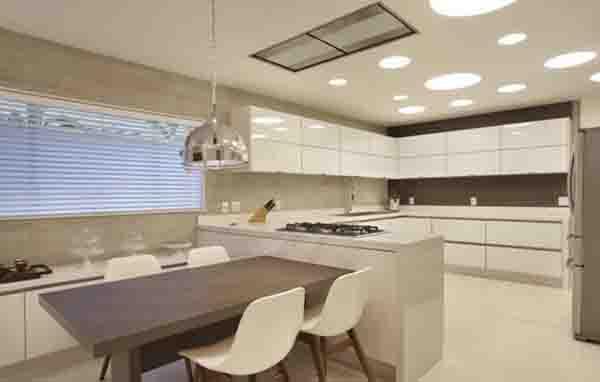 Uso de lâmpada led; dicas de iluminação para cozinha; Cozinha clara; Cozinha branca